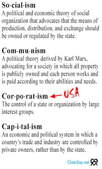 definitions of socialism, communism, corporatism, and capitalism